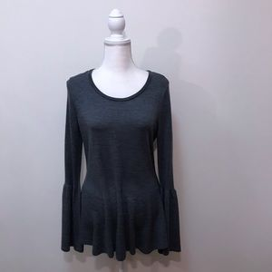 Nanette Lepore Gray Peplum Bell Sleeve Sweater XL